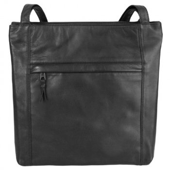 Twin Shoulder Top Zip Tote