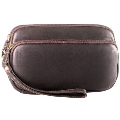 Two Zip Compartment Clutch