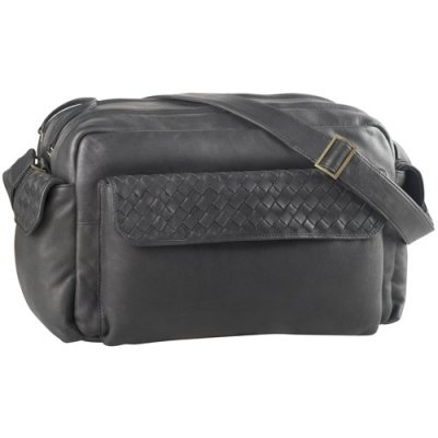Top zip carry-on, exterior pkts, woven leather trim